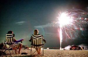 July 4th Fireworks on the beach